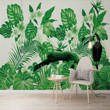 Nordic wallpaper tropical plant parrot background wall professional custom mural