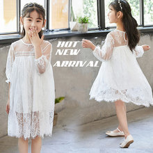 2019 summer kids Middle Sleeves lace dress White princess costume Baby Girl Clothes Kids Dresses For Girls party frocks