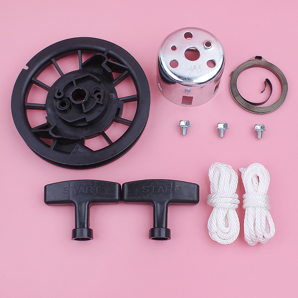 Recoil Starter Pulley Spring Rope Handle Grip Cup Bolt Kit For Honda GX160  GX200 5 5HP 6 5HP GX 160