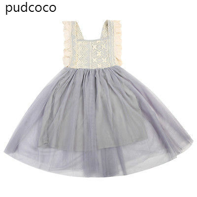 ab277830aab50 Lace Floral Kids Baby Girl Ruffles Backless Princess Ball Gown Mini Dress  Summer Bowknot Party Mesh Tutu Dress Sundress Clothes-in Dresses from  Mother ...