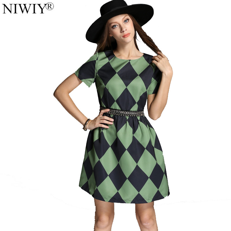 NIWIY Brand Bead Diamond Green Plaid Dress Summer Dress 2020 Vestidos Ukraine Women Dress Tunique Femme Dames Jurken 838950