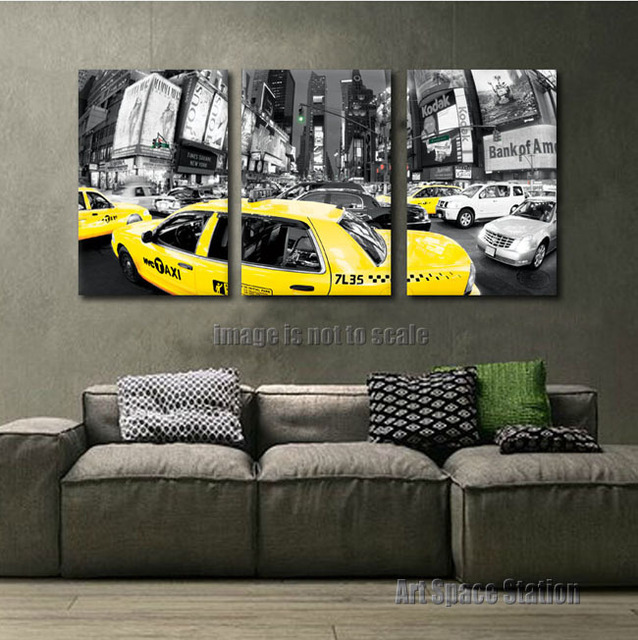 3pcs large black and white new york city print yellow cab postertraffic taxi photo