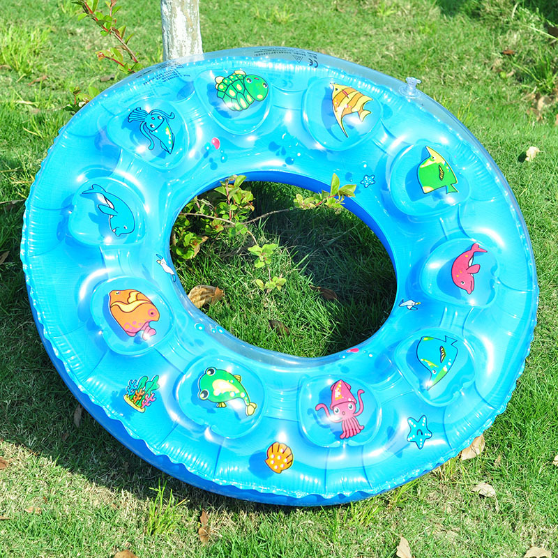 Cute cartoon children's swim ring inflatable rubber tube swimming pool  swimming ring pool fun float ball bath toy color random