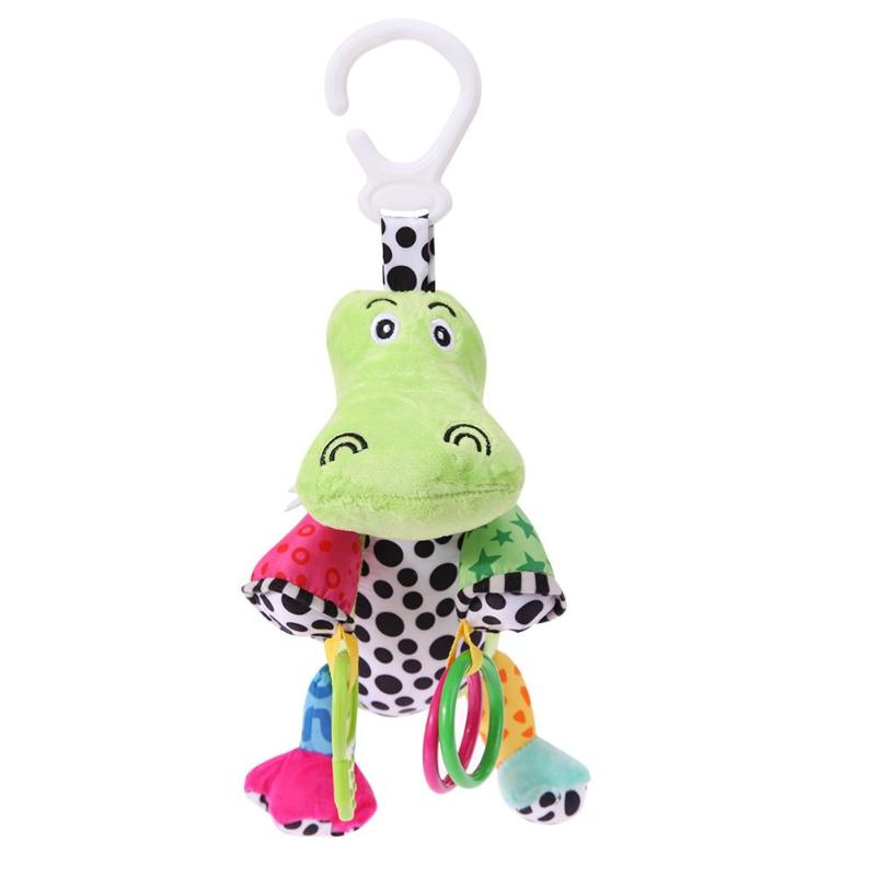 Baby Animal Rattles Plush Toy Infant Colorful Soft Teether Cute Stroller with Sounds Music Hanging Bell Kids Playmate Gift