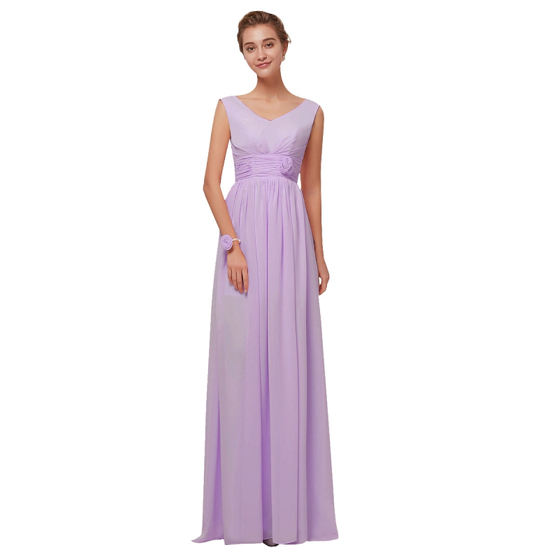 Beauty Emily Purple Chiffon   Bridesmaid     Dresses   2019 Long for Women A-line Party Prom   Dresses   Wedding Party Bridal   Dress