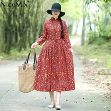 NiceMix Vintage Maxi Dresses Literary Stand Collar Button Long Sleeve High Waist Dress Casual Loose Plus Size Pleated