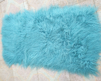 Primary Real Long Wool Mongolian Lamb Fur Plate Tibetan Fur Fluffy Area Rug Sofa Throw Carpet Doll Wig Accessory Rugs Christmas