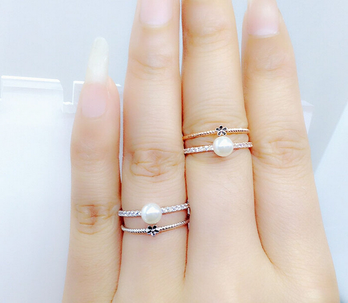 New White Gold Color Engagement Ring Imitation Pearl Double Layers