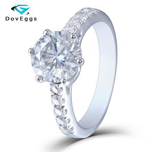 DovEggs Classic Sterling Solid 925 Silver 2ct 8mm GH Color Moissanite Engagement Ring with Accents for Women Fine Jewelry