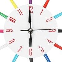 Charminer Metalowe Kolorowe Nóż Widelec Łyżka Kuchnia Zegary Zegar Ścienny Modern Home Decor Antique Style Zegarek Nowoczesne Ścienne