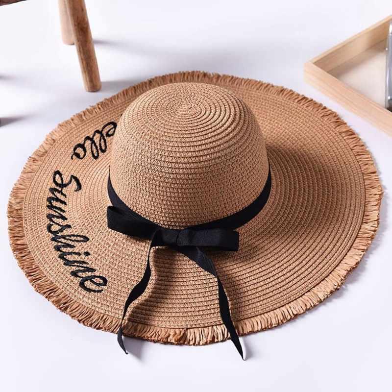 Tejido a mano letra Sun sombreros para las mujeres negro cinta de encaje  sombrero de paja 7a0780d8f06