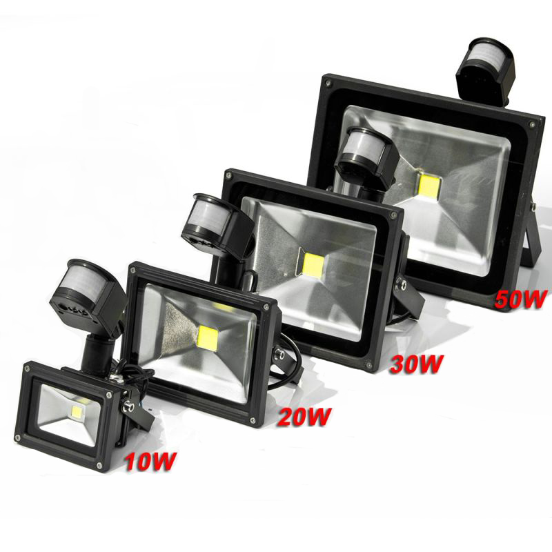 LED Flood Light with sensor Waterproof IP65 Outdoor 10W 20W 30W 50W AC110-240V Garden Refletor Spotlight  Floodlight  IY105101
