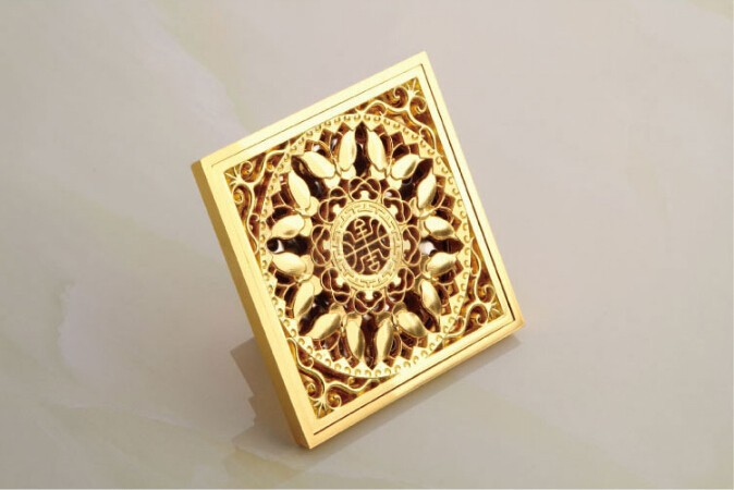 Europe style high quality brass art carved bamboo gold square 10*10cm size deodorization floor drain waste drain free shipping europe style high quality brass art carved flower gold square 4 size deodorization floor drain waste drain