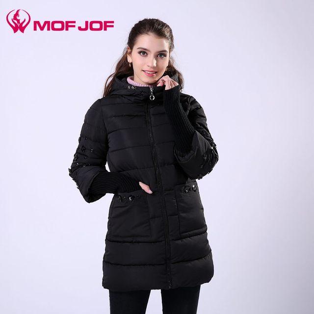 Mujeres de la chaqueta de Algodón acolchado ropa de abrigo con capucha de invierno Rhinestone larga para mujer chaquetas de invierno y abrigos 2016