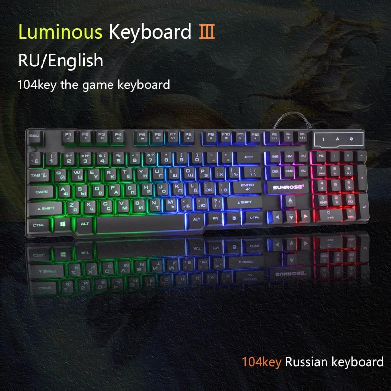 Sunrose  Russian Gaming Keyboard 104 Keys  reception Keyboard Wired USB Keyboards RGB LED Backlit for Overwatch LOL RU
