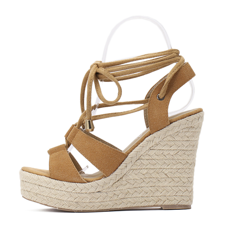 60cb232e68e DiJiGirls women Gladiator Wedges sandals shoes woman Rome Cross tied pumps  Straw hemp rope Thick bottom platforms sandals 35 40-in High Heels from  Shoes on ...