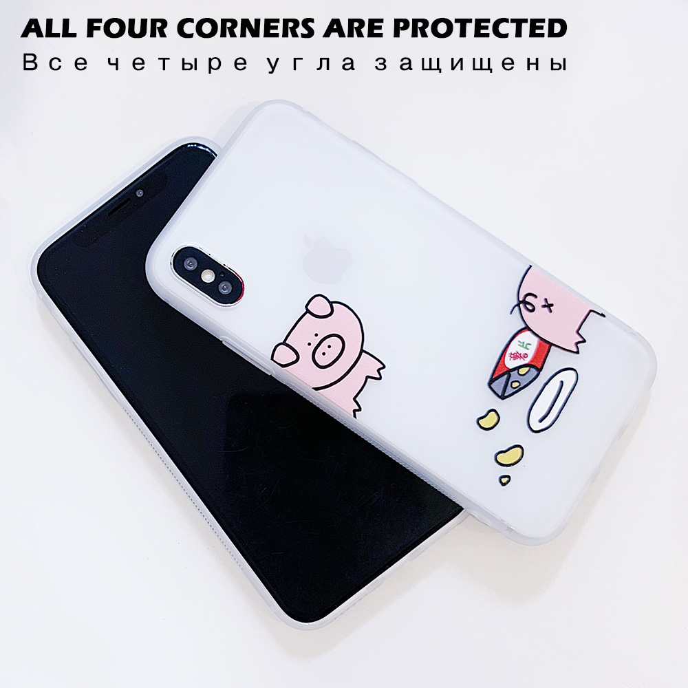 KIPX1100_3_JONSNOW Matte Case For iPhone 7 Plus 8 6 6S 6 Plus X XR XS Max Lovely Pig Baby Pattern Translucent Soft Silicone Cover Cases
