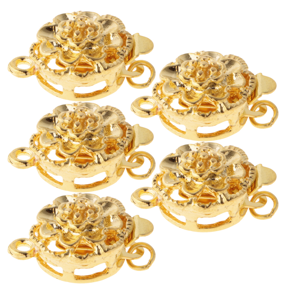 5 Pieces Flower Jewelry Clasps Connector For DIY Bracelet Necklace Hook Gold
