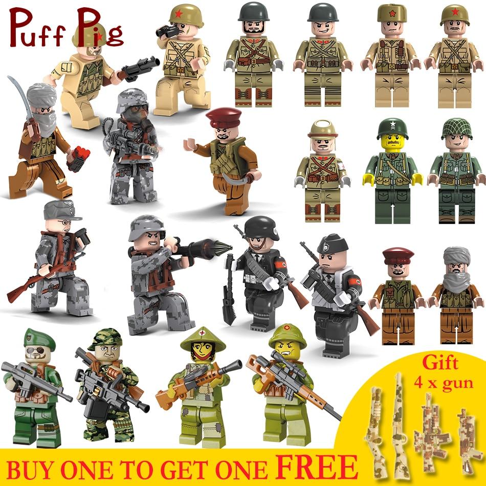 все цены на Military Combat Force Soldiers Weapon Guns Set Army Vehicles Compatible Legoed ww2 Germany Figures Building Blocks Toys For Kids онлайн