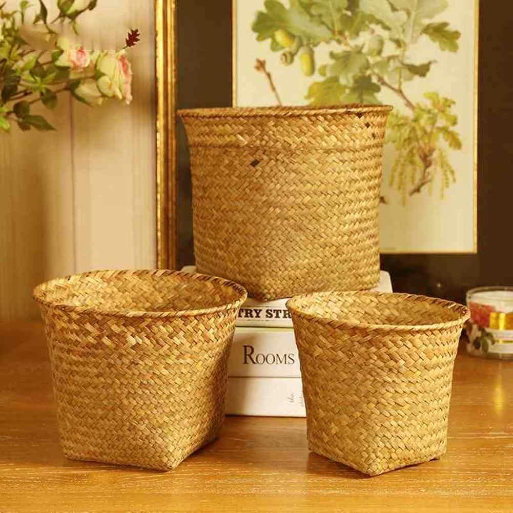 มือถักตะกร้าเก็บของเล่นตะกร้าผลไม้ Nordic สไตล์ Plant ตะกร้าทอมือพับตะกร้าดอกไม้