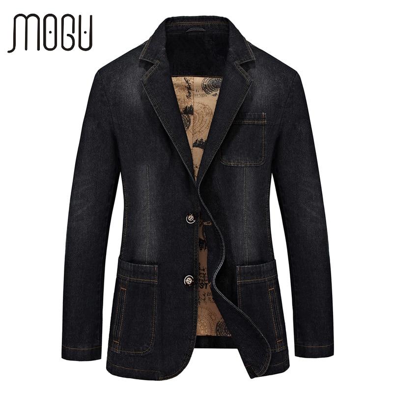 MOGU Denim Blazers Men 2017 Spring New Fashion Jean Blazer Jacket Slim Fit Suits For Male Casual Blazer Asian Size Men's Jackets
