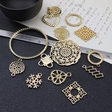 2pcs korea alloy simple geometric flower vintage circle earrings for women girls bracelet pendant diy ear jewelry accessories