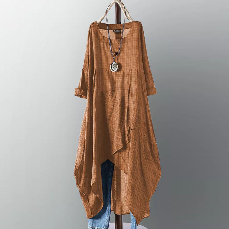 2019 Plus Size ZANZEA Summer Dress Women Casual Long Sleeve Vintage Check Plaid Irregular Long Shirt Vestiso Sundress Female