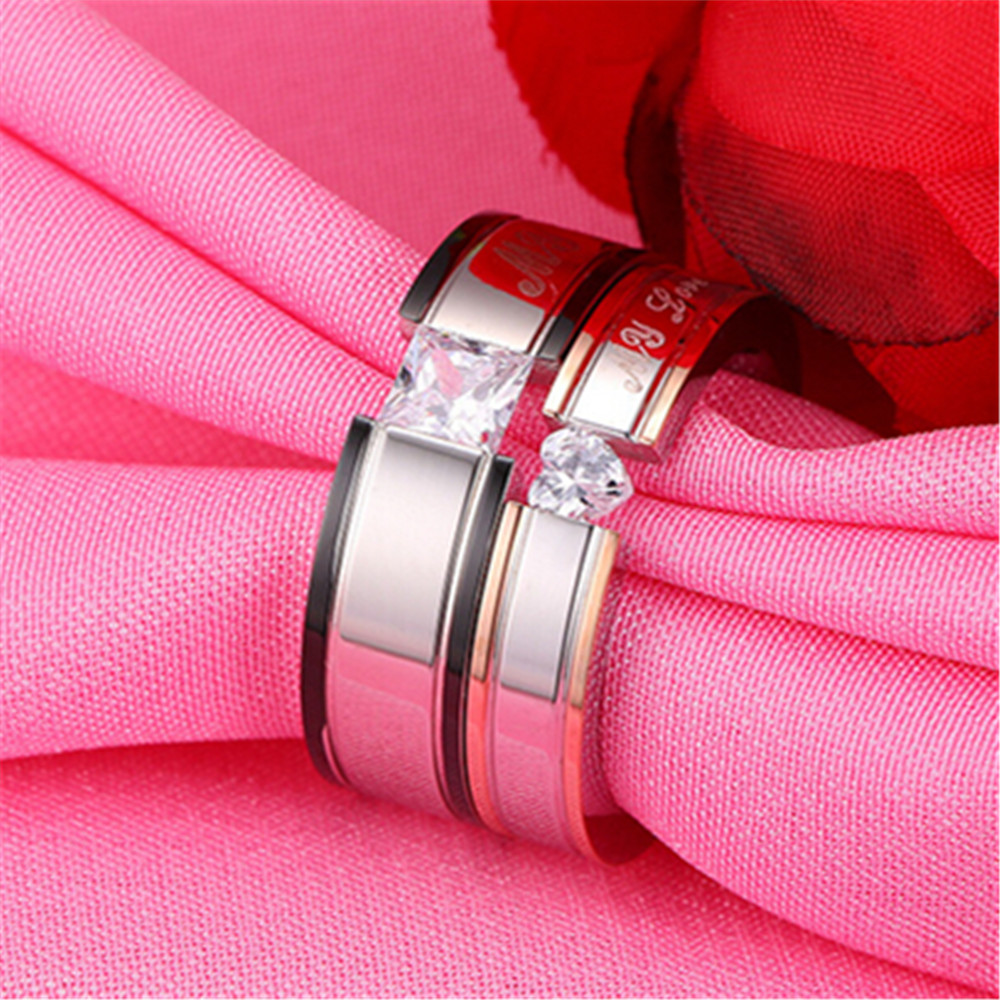MHS.SUN New Couples silver Ceramic Rings For Men Women Promise ...