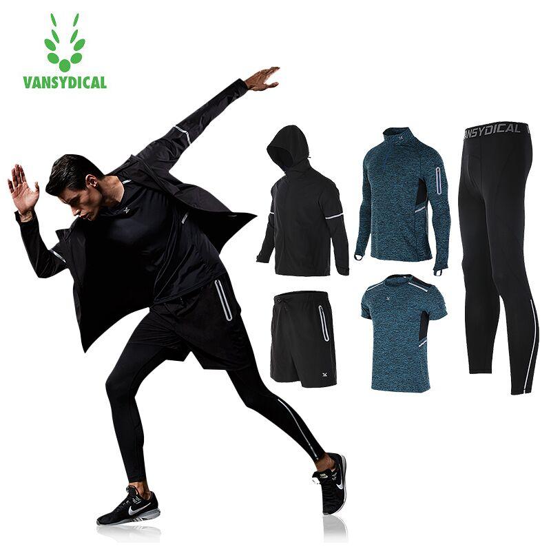 Vansydical Mens Hiver Survêtement Chaud 5 pcs Sport Costumes Homme Gym Vêtements de Sport Trainning de Course Costumes Fitness Veste Hommes
