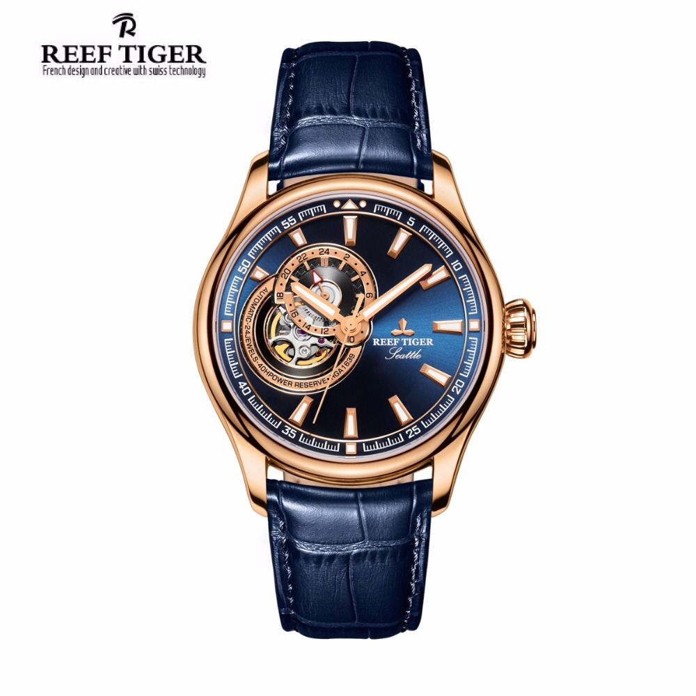 Luxury Brand Reef Tiger Men's Watch Rose Gold Tone Tourbillon Blue Dial Waterproof Quartz Analog Watches Relogio Masculino