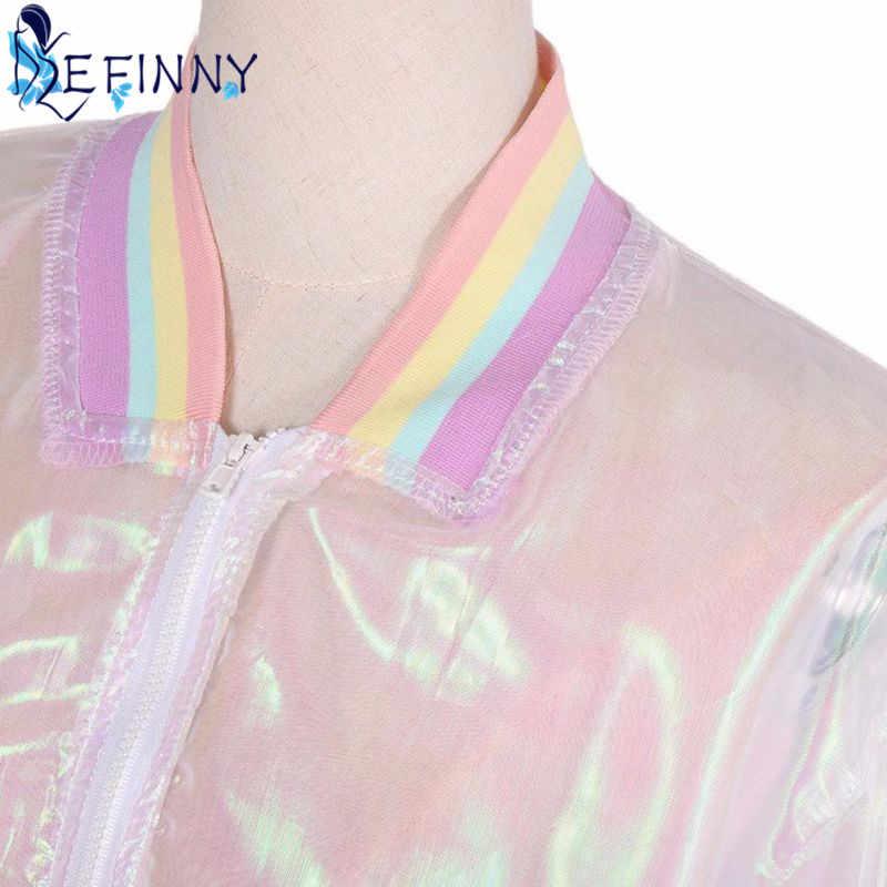2020 女性ジャケット日焼けレーザー虹シンフォニーホログラムライトガールコート虹色の透明ボンバージャケット色あせしない