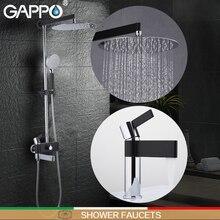 GAPPO Chuveiro Torneiras Torneiras de Lavatório de bronze cromado e torneira conjunto misturador do chuveiro de parede do banheiro preto torneira do banheiro misturador torneira