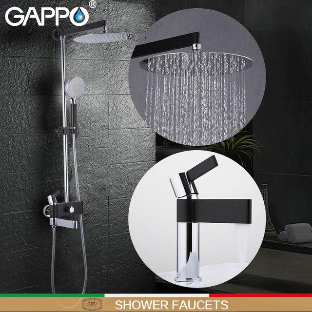 Gappo 샤워 수도꼭지 황동 분지의 수도꼭지 크롬과 블랙 욕실 수도꼭지 믹서 샤워 세트 벽 욕실 수도꼭지 믹서 torneira