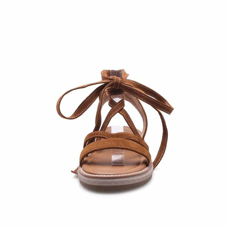 YMECHIC גברת צאן צלב רצועת חוף שטוח העקב גבוה גלדיאטור סנדלי נשים נעלי קיץ 2018 שחור חום סנדל מגפי בתוספת גודל