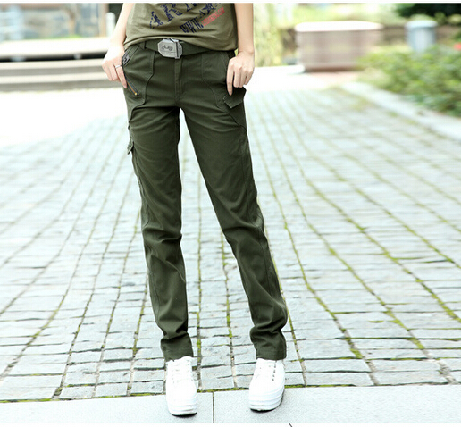 2015 Winter Plus size S-6xl Womens Casual Army Green Camouflage Cargo Pants Outdoors Cotton Multi-pocket Sport Jogging Pant