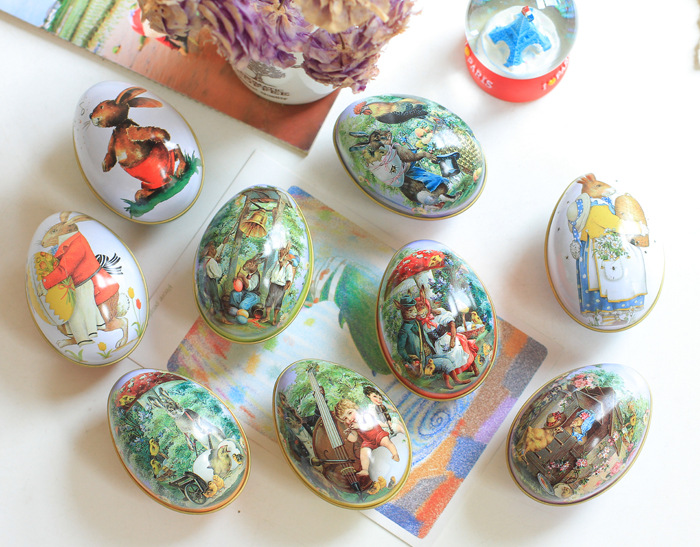 5 Pcs Easter Rabbit Printing Iron Can Trinket Tin Easter Eggs For Home Candy Chocolate Box Toys