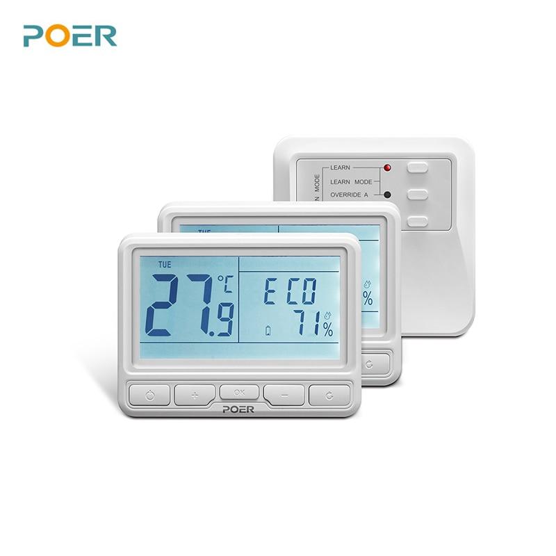 Termostaat põrandakütte jaoks Traadita katla temperatuuri regulaatori koduküte Programmeeritav 2 termostaadi termoregulaatorit