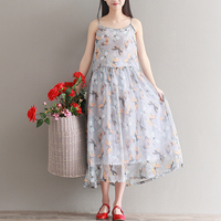 Camisole Butterfly Print Sashes Girls Maxi Dress 2017 Summer Casual Beach Wedding Boho Style Women Long