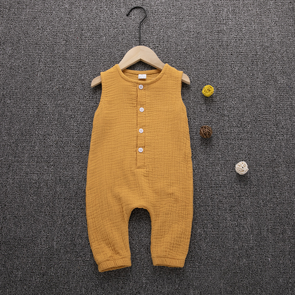 2019 Children Summer Clothing Cute Newborn Infant Baby Boy Girl Solid Romper Sleeveless Jumpsuit Outfits Cotton Soft Clothes