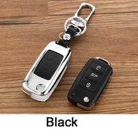 Icecare Leather Zinc Alloy Car Key Case Shell Fob For Volkswagen Vw Jetta Golf Passat Beetle
