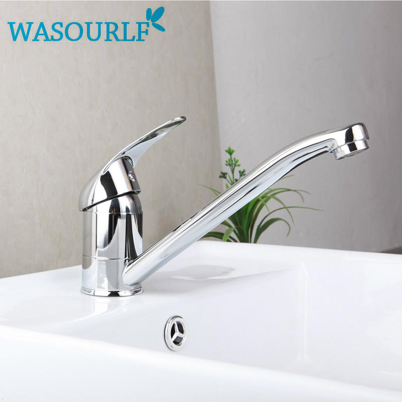 WASOURLF  Kitchen brass water  faucet basin single handle mixer hot and cold tap modern design high quality gizero free shipping orange spring kitchen faucet brushed nickle finish single handle hot cold water crane mixing tap gi2069