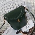2016 Fashion Lady Casual Handbags Women Messenger Bags Weaving design PU Oil Wax Leather Shopping Ladies Hand Bag Green Handbag