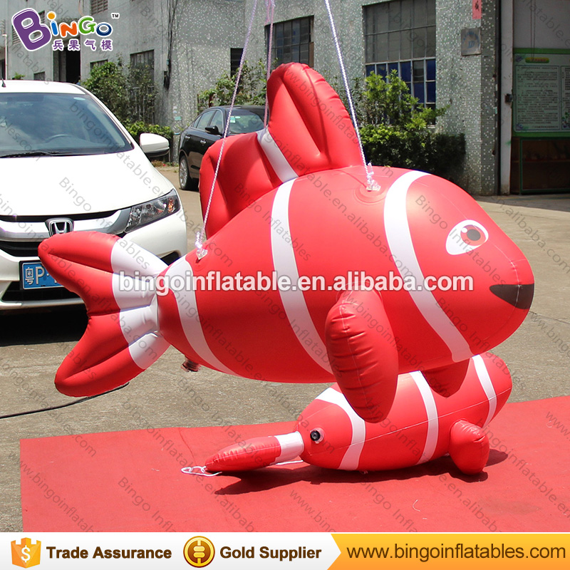 Red inflatable clown fish balloon air sealed flying fish model for hanging decorationRed inflatable clown fish balloon air sealed flying fish model for hanging decoration