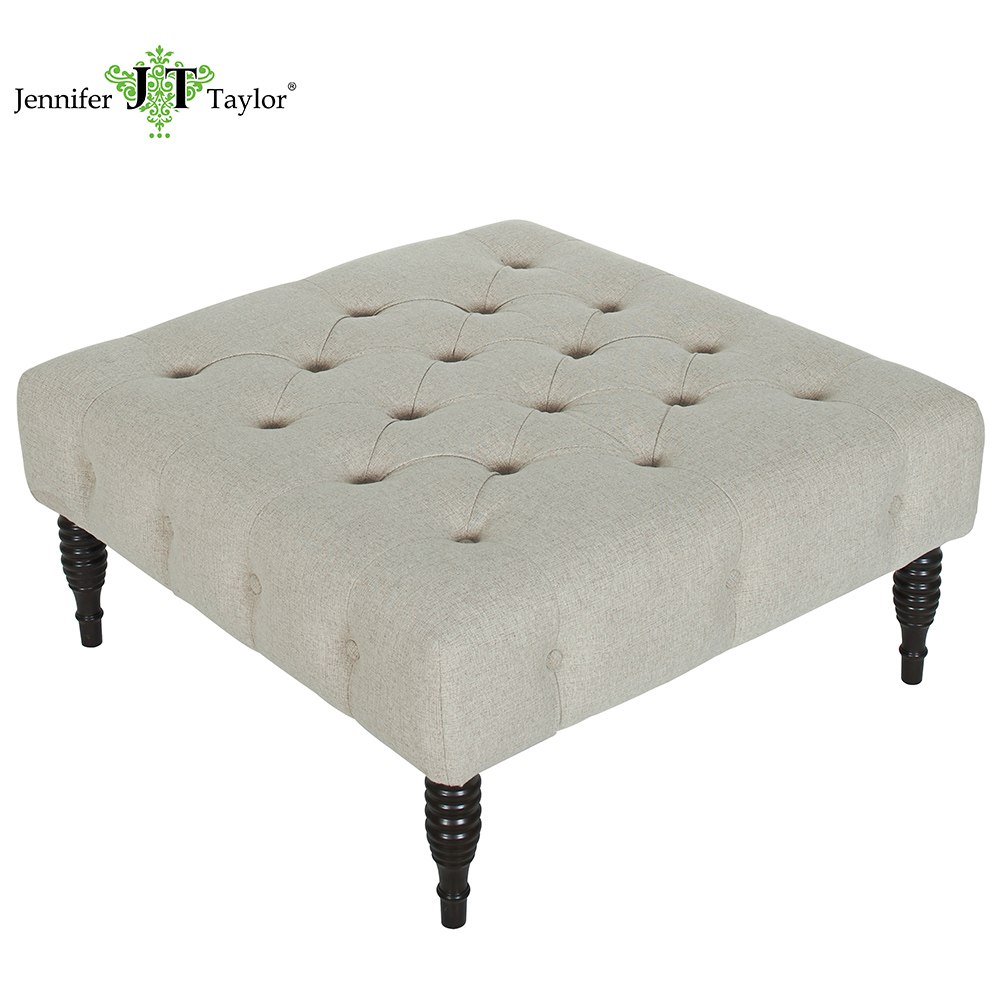 Jennifer Taylor Home, Entryway Bench, Grey, Hand Tufted, Wooden Legs 38Wx38Dx18H/ 97x97x46 cm 85140 jennifer taylor home sofa bed hand tufted hand painted and hand rub finished wooden legs 65000 584 859 865