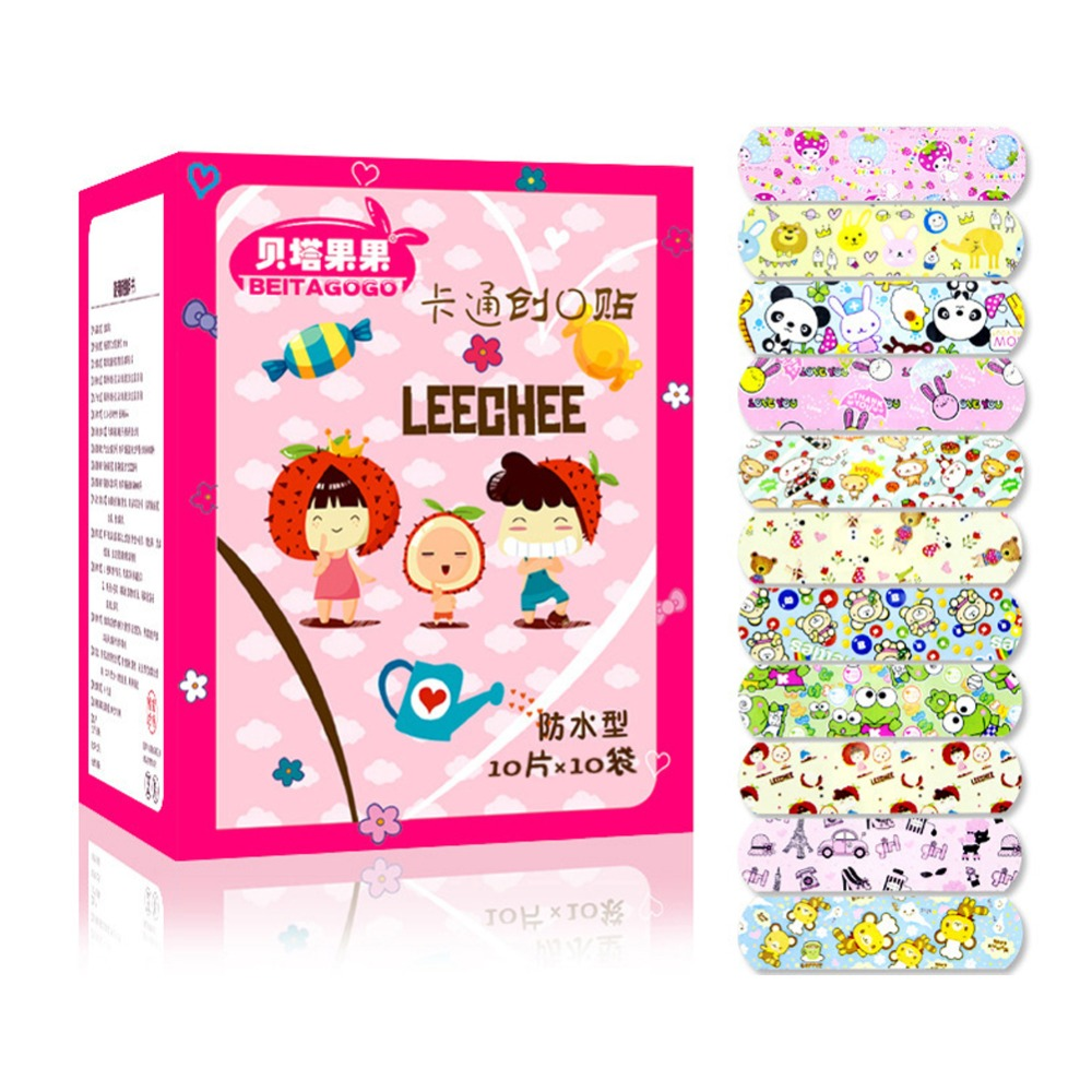 100PCS Waterproof Breathable PE Cute Cartoon Band Aids Adhesive Bandages Wound Dressing First Aid Stickers For Children Kids-in Emergency Kits from Security & Protection