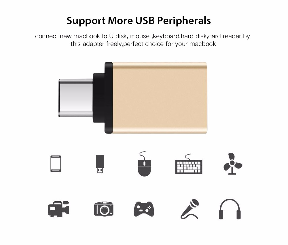 Hot USB-C to USB Adapter for Macbook USB3.1 type C Male to USB 3.0 A Female Adaptor for Apple Converter Wholesale gold & Silver type c usb 3 1 usb c male to vga female adapter cable converter for macbook 12 notebook computer video screen mirror to tv