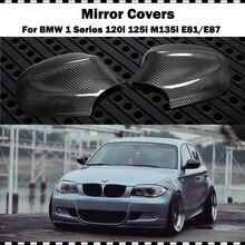 цена на Carbon Fiber Mirror cover For BMW 1 Series Hatchback 120i 130i 135i E81 E87 2009-2011 Car CF styling rear mirror cap (stick-on)