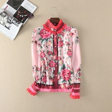 European and American style pink color blouse 2017 spring flower print ruffled shirts girl's sweet shirt