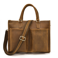 New Luxury 100% Cow Genuine Leather Business Men's Briefcase Crazy Horse Male Shoulder Bag Men's Messenger Tote Computer Bag