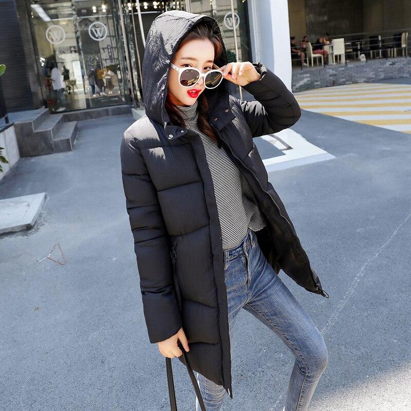 Mince Vestes Mujer Solide Beige rouge À Longue Parkas Femelle Femme caramel Chaud Poches D'hiver 2018 Rembourré Coton Capuche Mode noir Veste Casual Invierno 5qagy